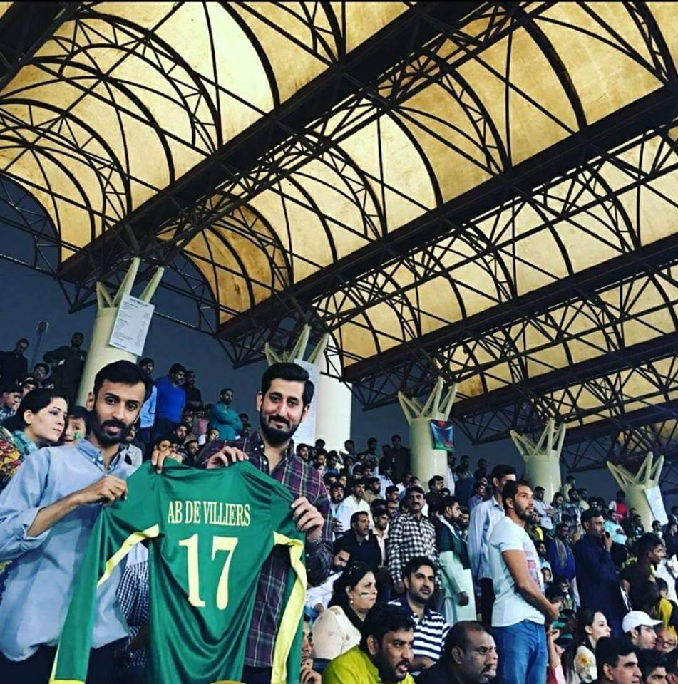 Fans Holding AB De Villiers Jersey During Pak-SL