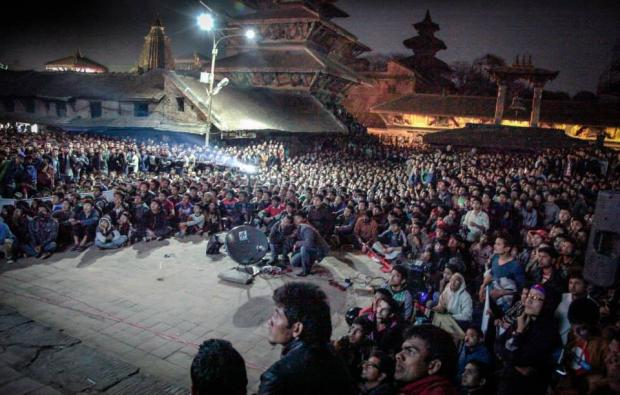 Fans In Kathmandu Watching Nepal Cricket Team Play Bangladesh