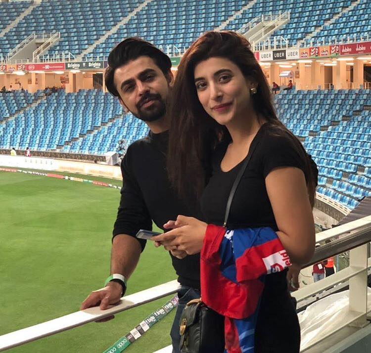 Farhan Saeed & Urwa Hocane In The Stands To Support Karach Kings In PSL