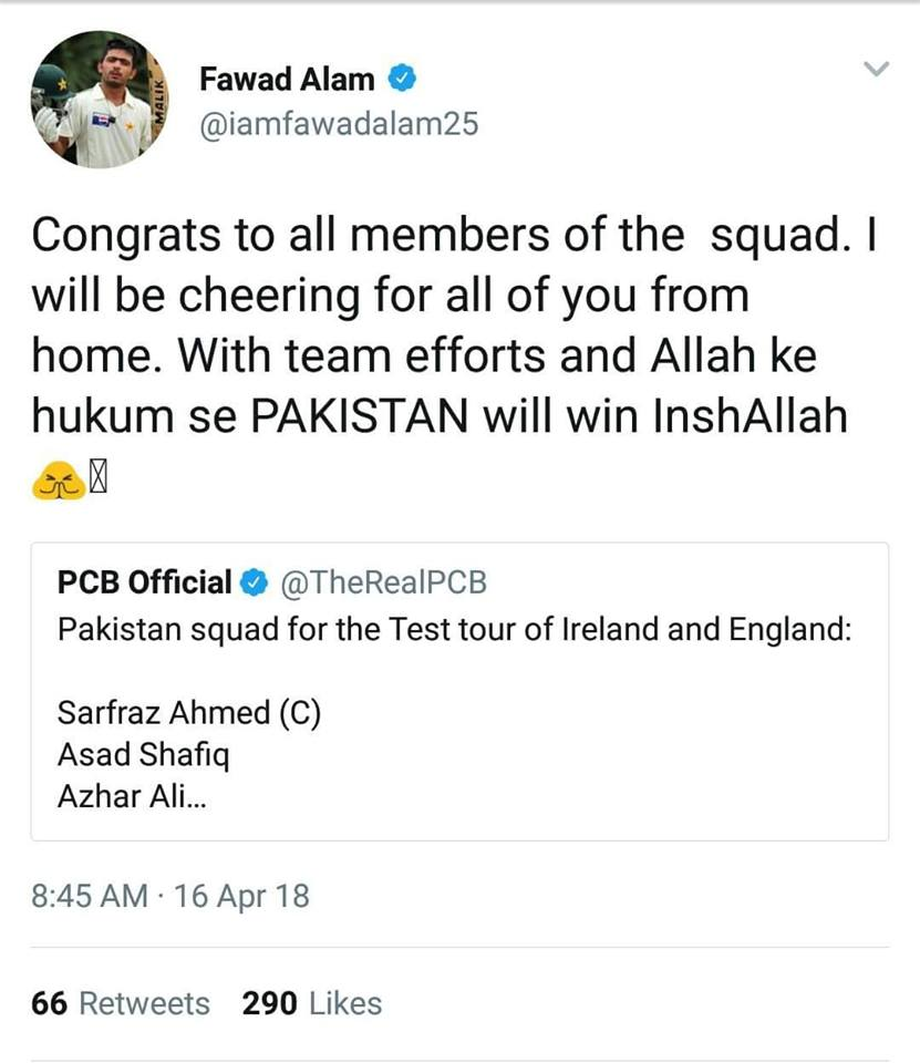 Fawad Alam Tweet After The Announcement Of Pakistan Squad For Ireland & England