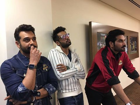 Faysal Qureshi, Fahad Mustafa & Humayun Saeed During Karachi Kings Match