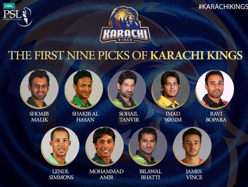 First Nine Picks Of Karachi Kings For PSL 2016