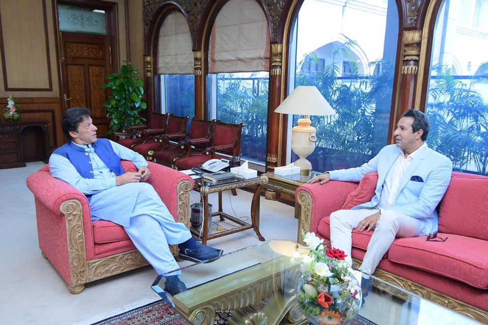 Former Cricketer Wasim Akram Called On PM Imran Khan At PM Office