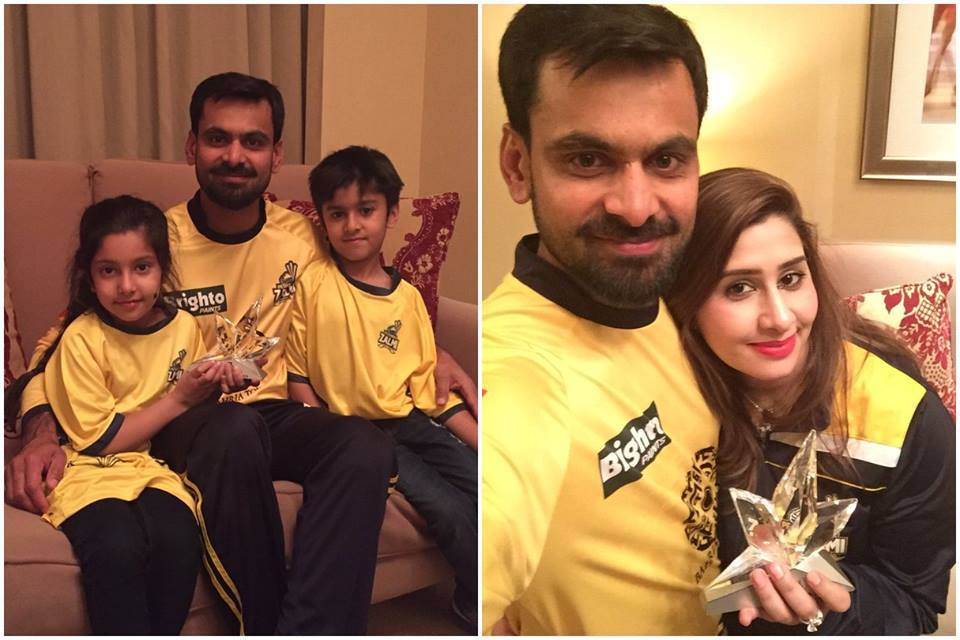 Hafeez with Family After Winning PSL Man OF The Match Award