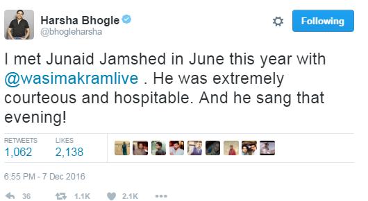 Harsha Bhogle Tweet About Junaid Jamshed