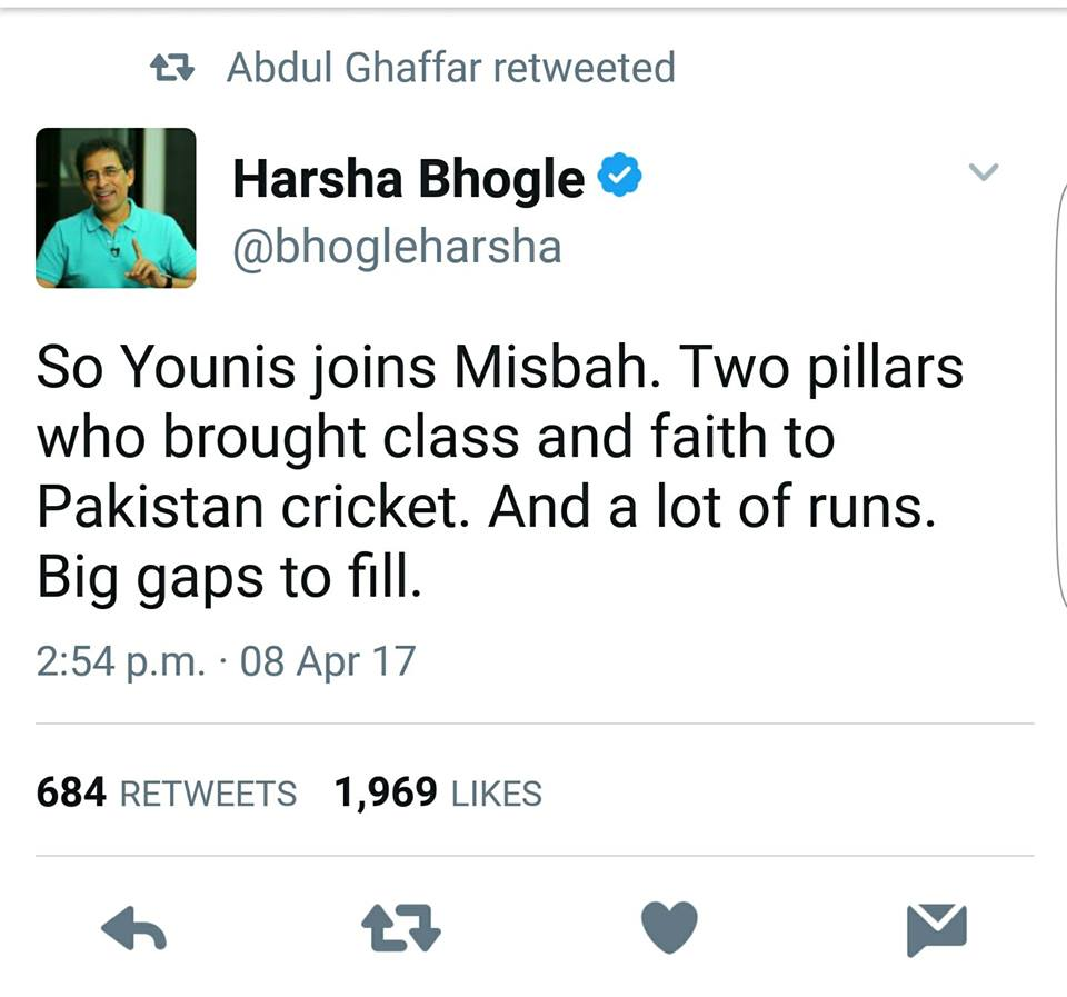 Harsha Bhogle Tweet About Misbah & Younis Retirement