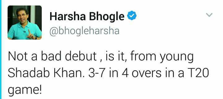 Harsha Bhogle Tweet About Shadab Khan Performance
