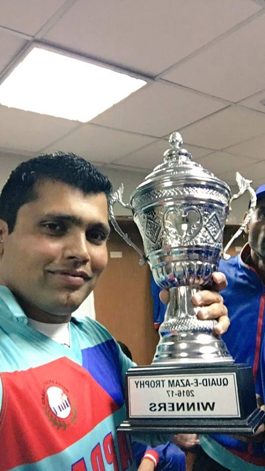 Highest Runs Scorer in Quaid-e-Azam Trophy Kamran Akma takes the selfie with the trophy