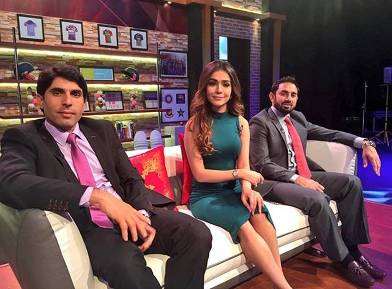 Humaima Malik with Misbah-ul-Haq and Saeed Ajmal