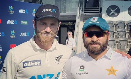 Imran Butt Pictured With Kane Williamson At Christchurch