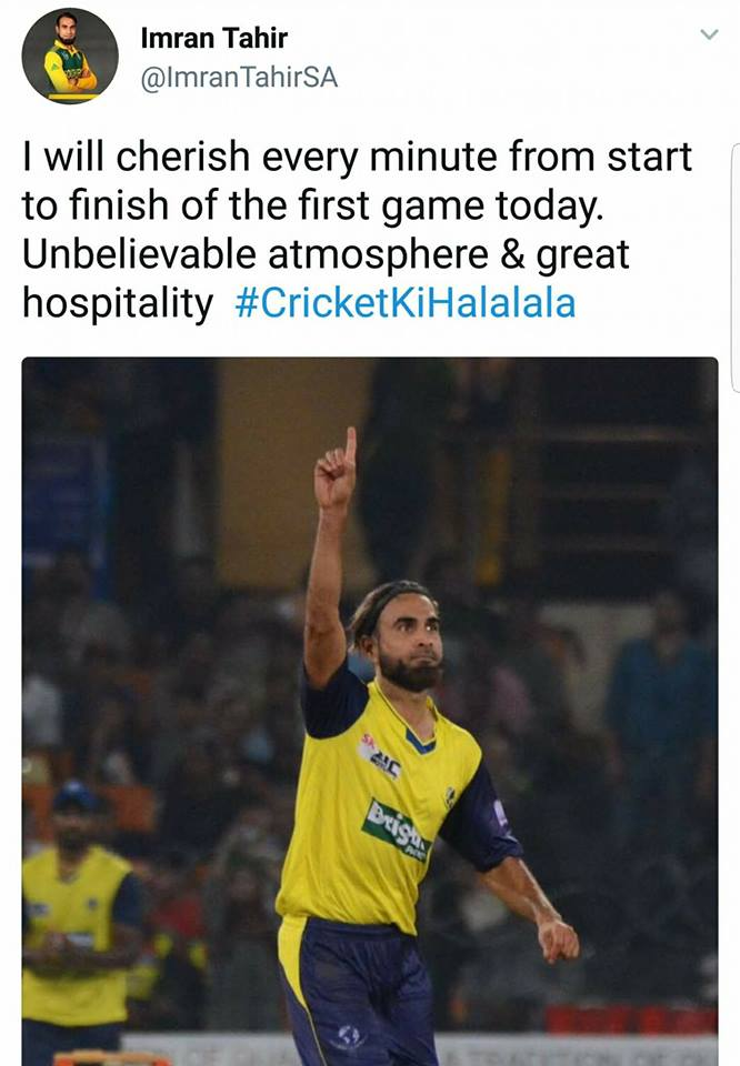 Imran Tahir Tweet After The Match