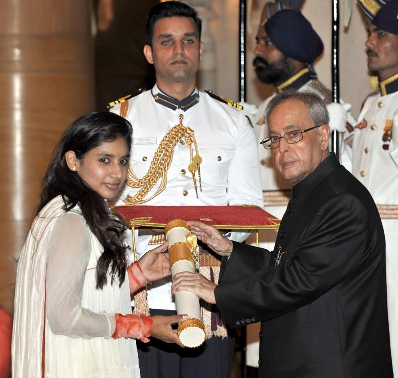 India Women Cricket Team Captain Mithali Raj Receives Padma Shri Award