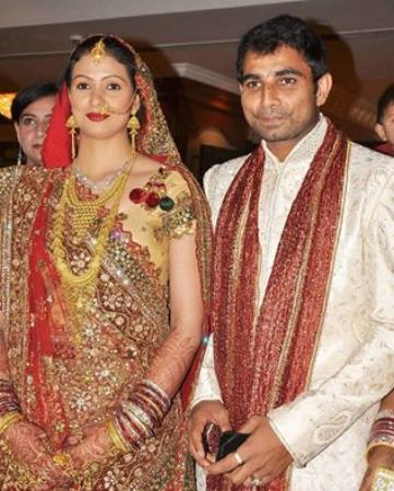 Indian Fast Bowler Mohammed Shami With His Bride