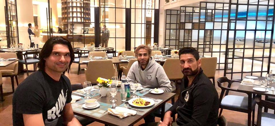 Irfan & Sohail Tanvir Having Dinner With SA Leg Spinner Imran Tahir