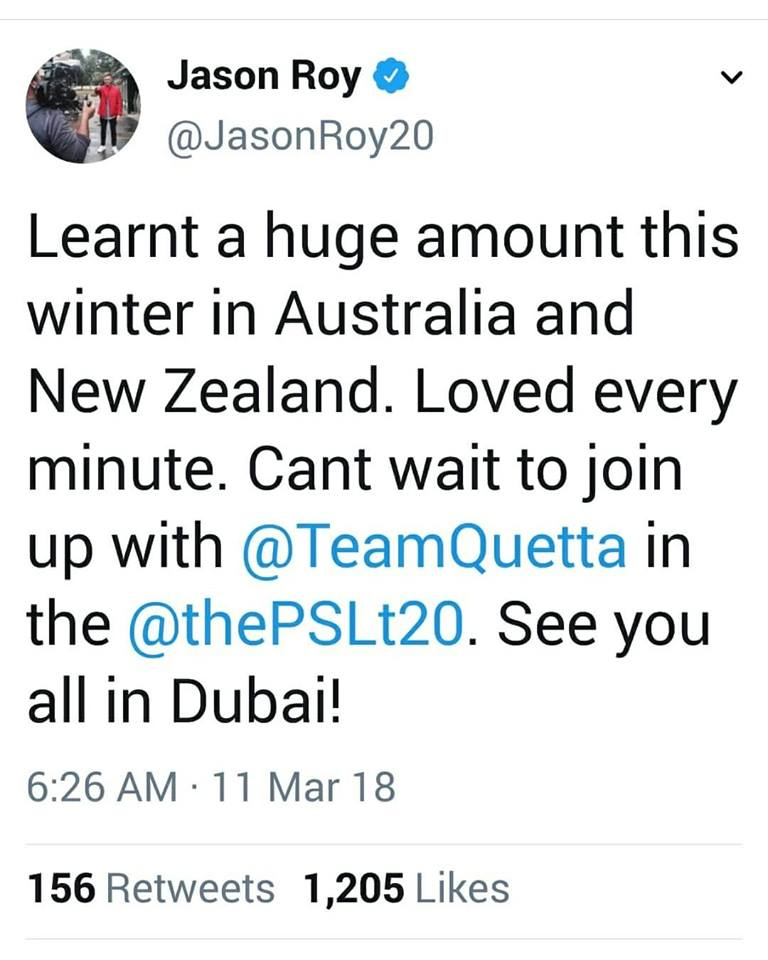 Jason Roy Will Be Joining Quetta Gladiators