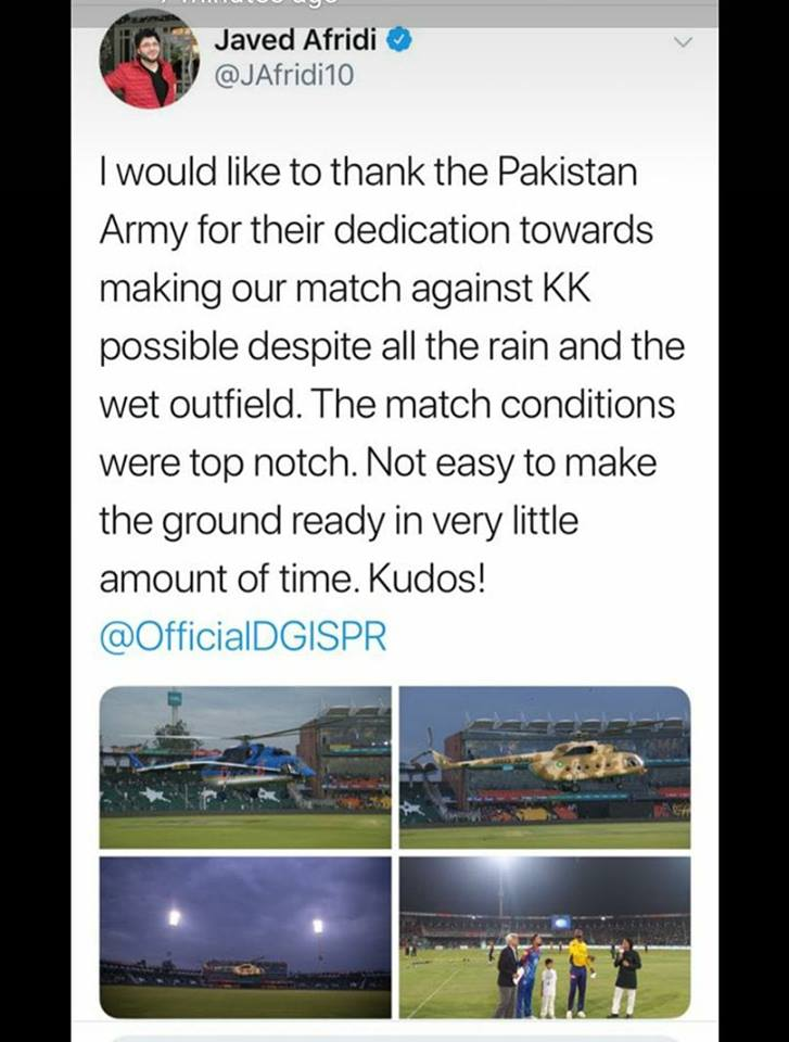 Javed Afridi Say Thanks To Army In His Tweet