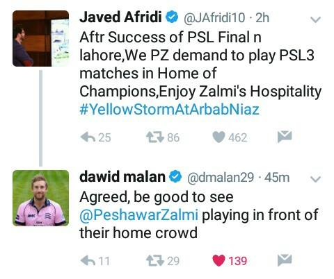 Javed Afridi & David Malan Tweeted About PSL 3