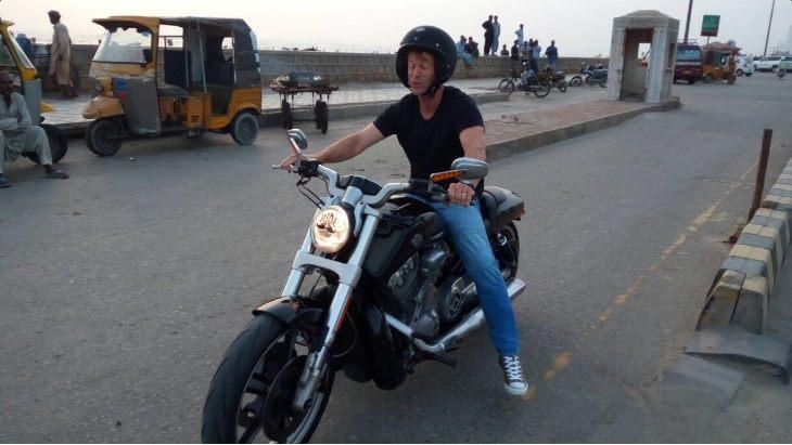 Jonty Rhodes Riding A Bike On Main Sea View, Karachi