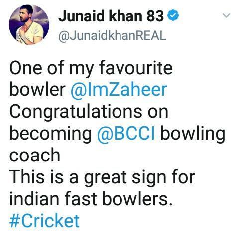 Junaid Khan Tweet About Zaheer Khan