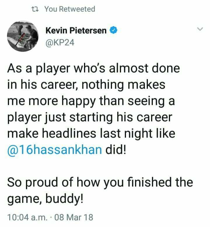 KP Tweeted About Hassan Khan Match Winning Six
