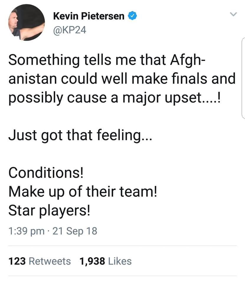 Kevin Pietersen Tweets On Afghanistan Current Form