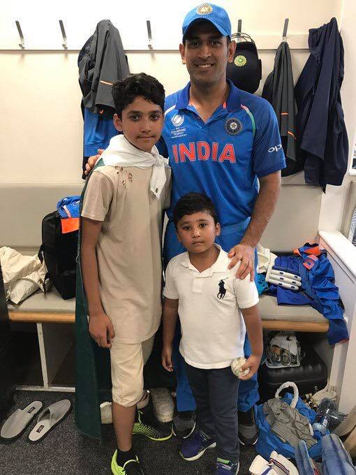 Kids of Azhar Ali with MS Dhoni