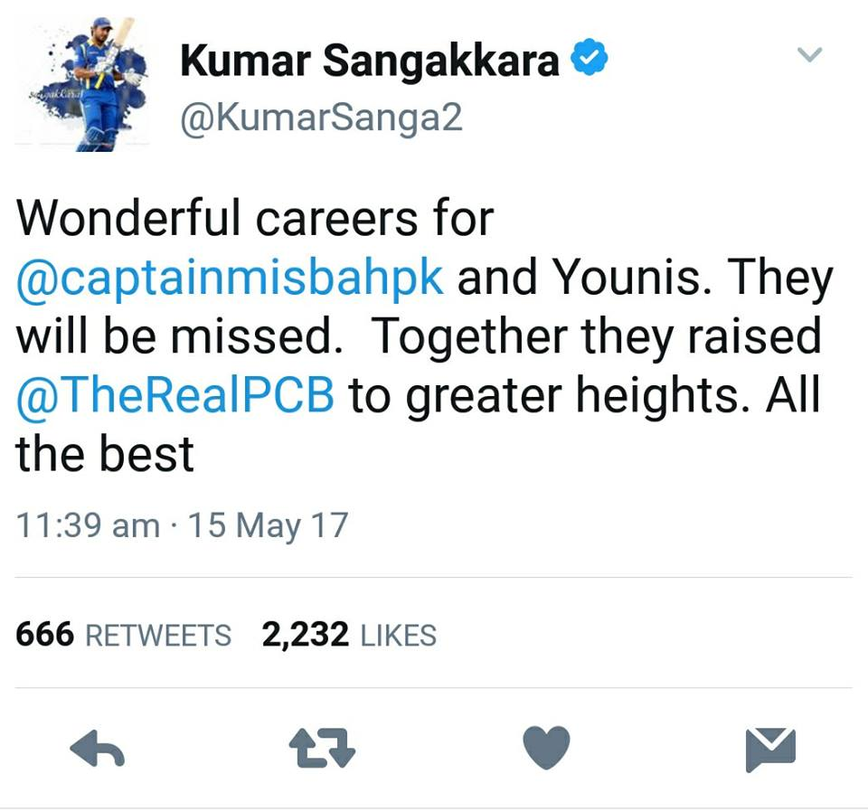 Kumar Sangakkara Tweet