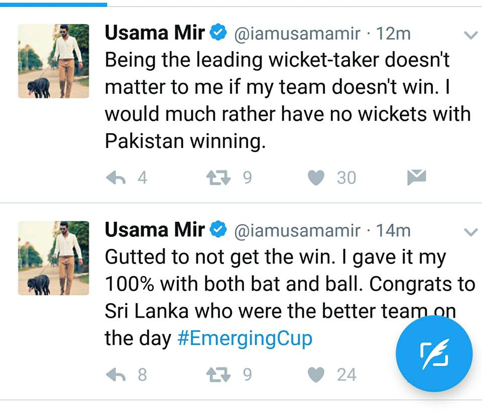 Leg Spinner Usama Mir Tweets