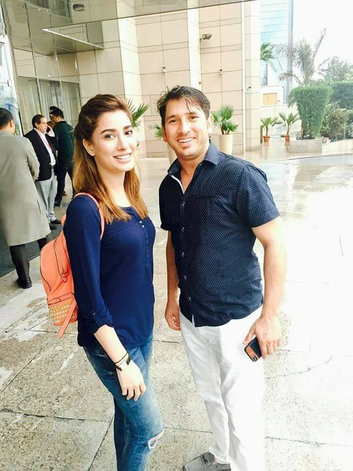 Leg Spinner Yasir Shah With Mehwish Hayat