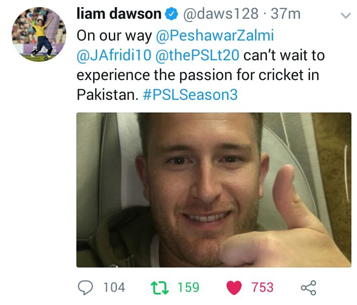 Liam Dawson Travelled To Pakistan For PSL
