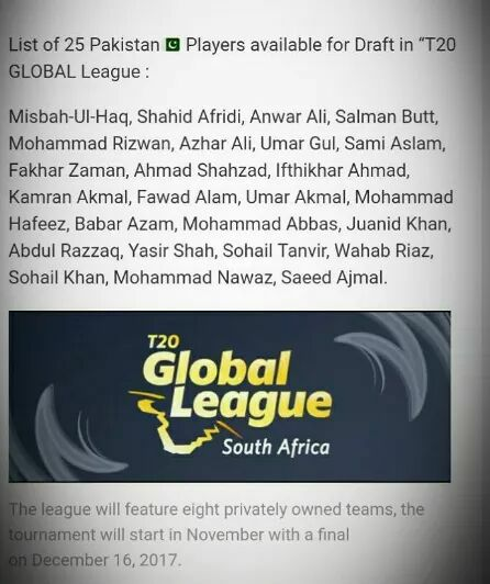 List Of T20 Global League Players