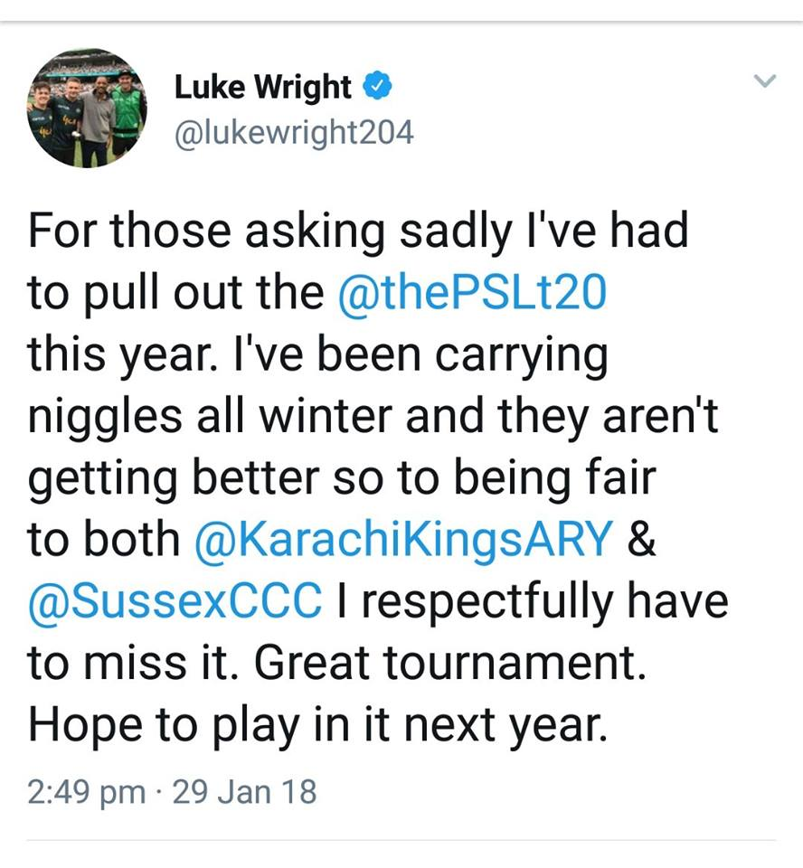 Luke Wright Miss PSL 3 Due To Injury