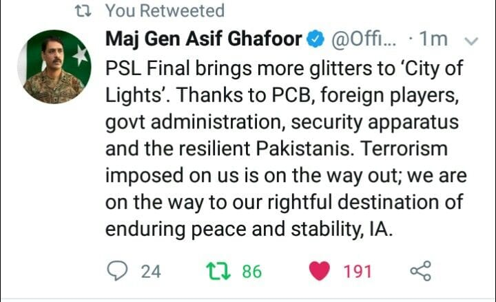 Maj Gen Asif Ghafoor Tweeted After PSL Final