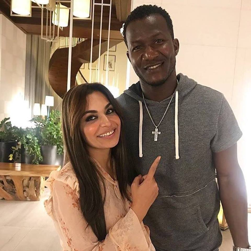 Meera With Peshawar Zalmi's Captain Darren Sammy
