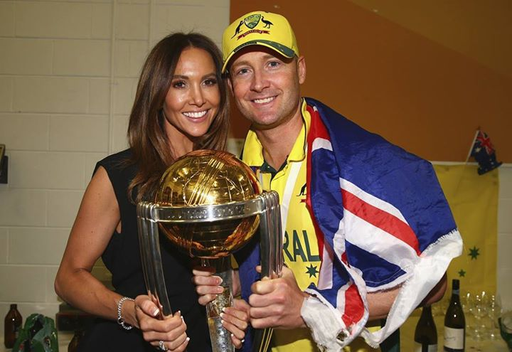 Michael Clarke And Wife With WC 2015 Trophy