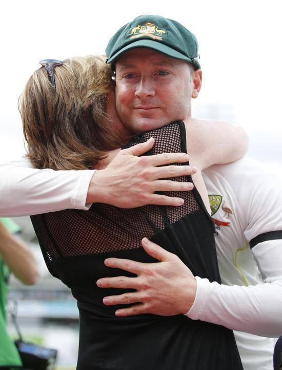 Michael Clarke Hugs His Mother After Playing His Last Test Match