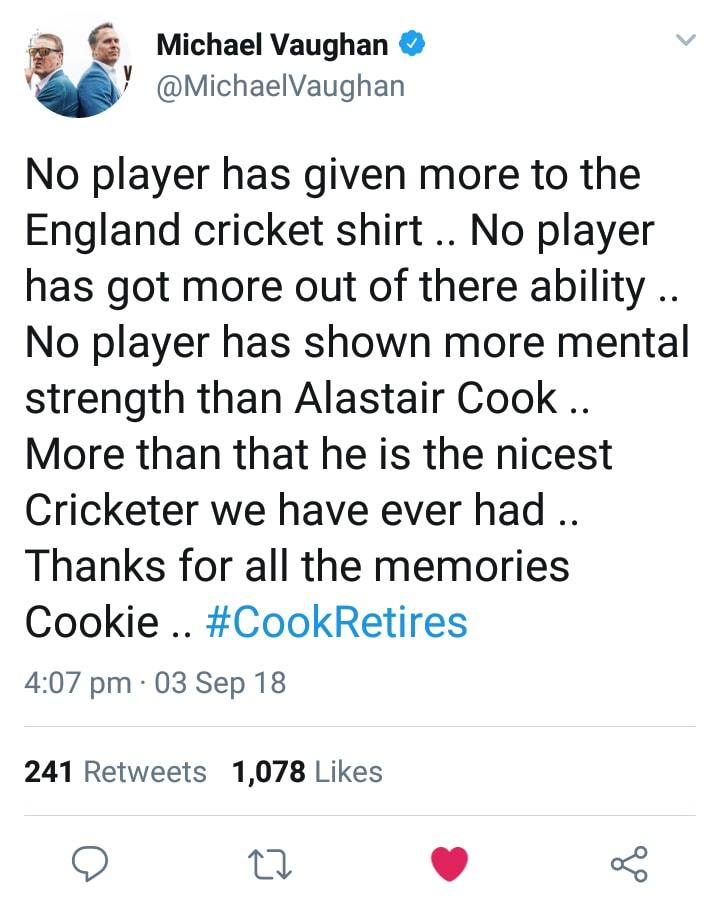 Michael Vaughan Tweets For Alastair Cook Retirement