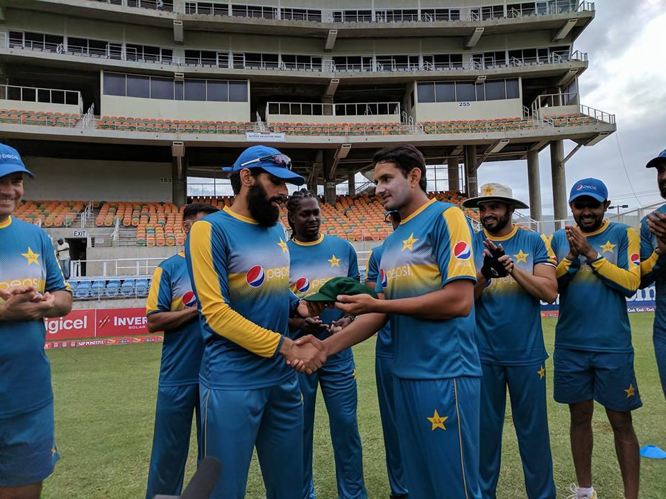 Misbah Presenting Test Cap To Mohammad Abbas