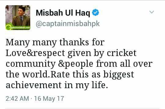 Misbah Ul Haq Tweet