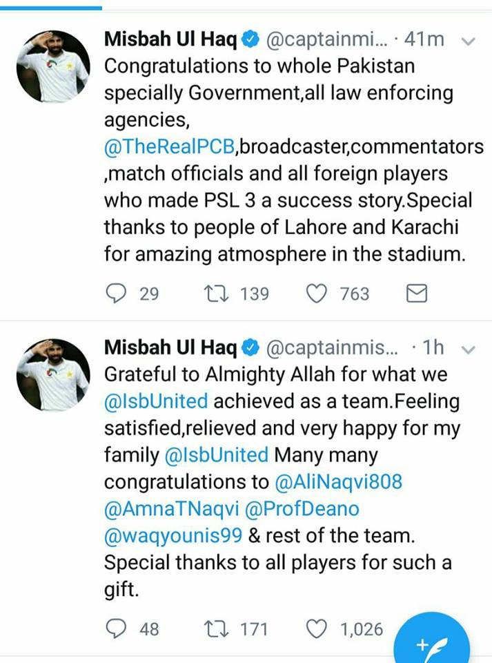 Misbah Ul Haq Tweeted After PSL Final