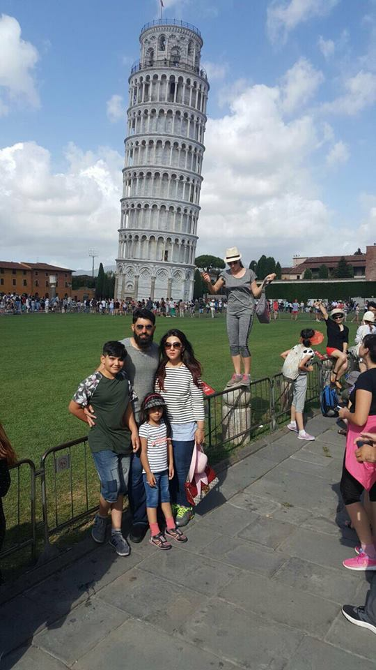 Misbah With His Family In Pisa Tower Livorno Italy