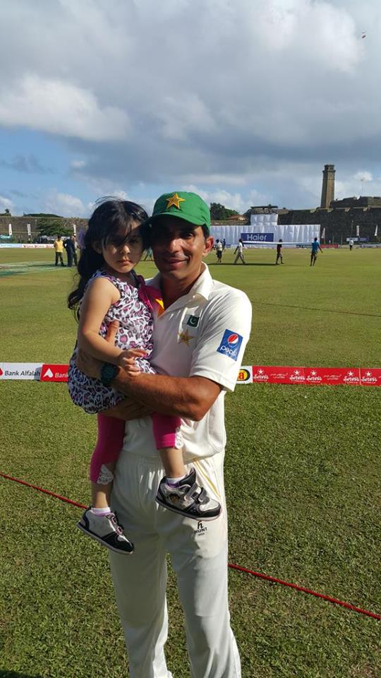 Misbah ul Haq With Daughter After Winning Galle Match