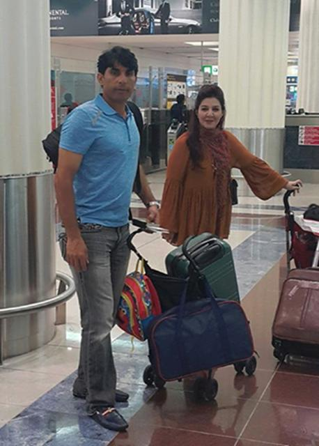 Misbah-ul-Haq With His Wife At Dubai Airport
