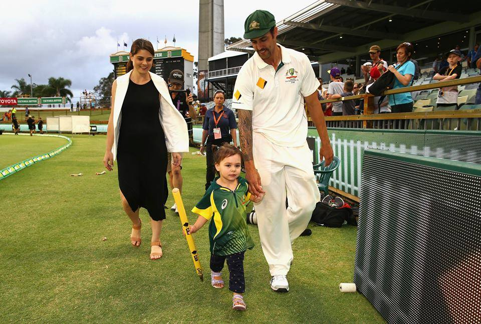 Mitchell Johnson With His Wife Daughter After Final Test