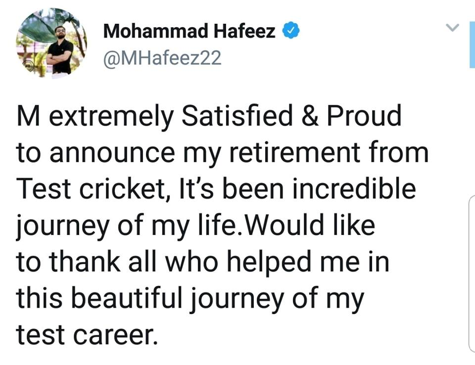 Mohammad Hafeez Announces Retirement From Test Cricket