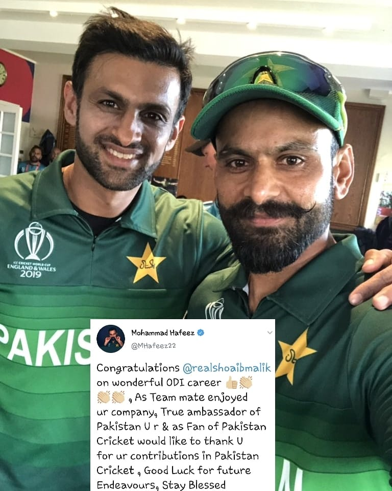 Mohammad Hafeez Congratulating Shoaib Malik On His Wonderful ODI Career