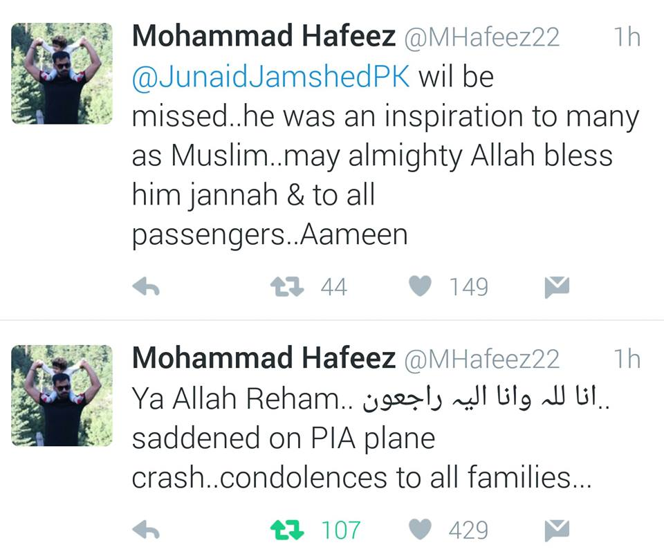 Mohammad Hafeez Tweets On Plane Crash