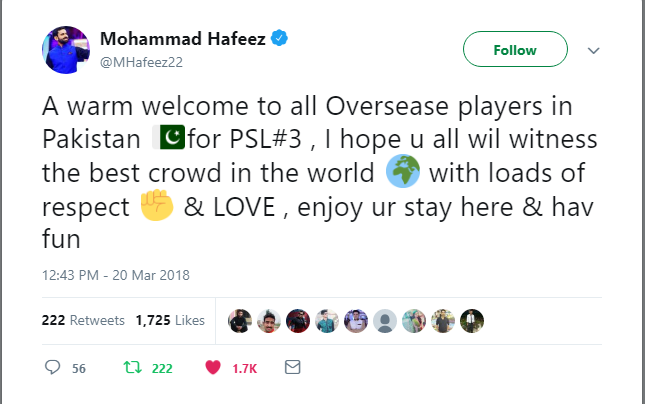 Mohammad Hafeez Welcomed To All Oversease Players