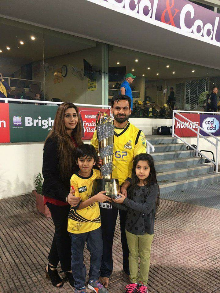 Mohammad Hafeez & Family With PSL 2 Trophy