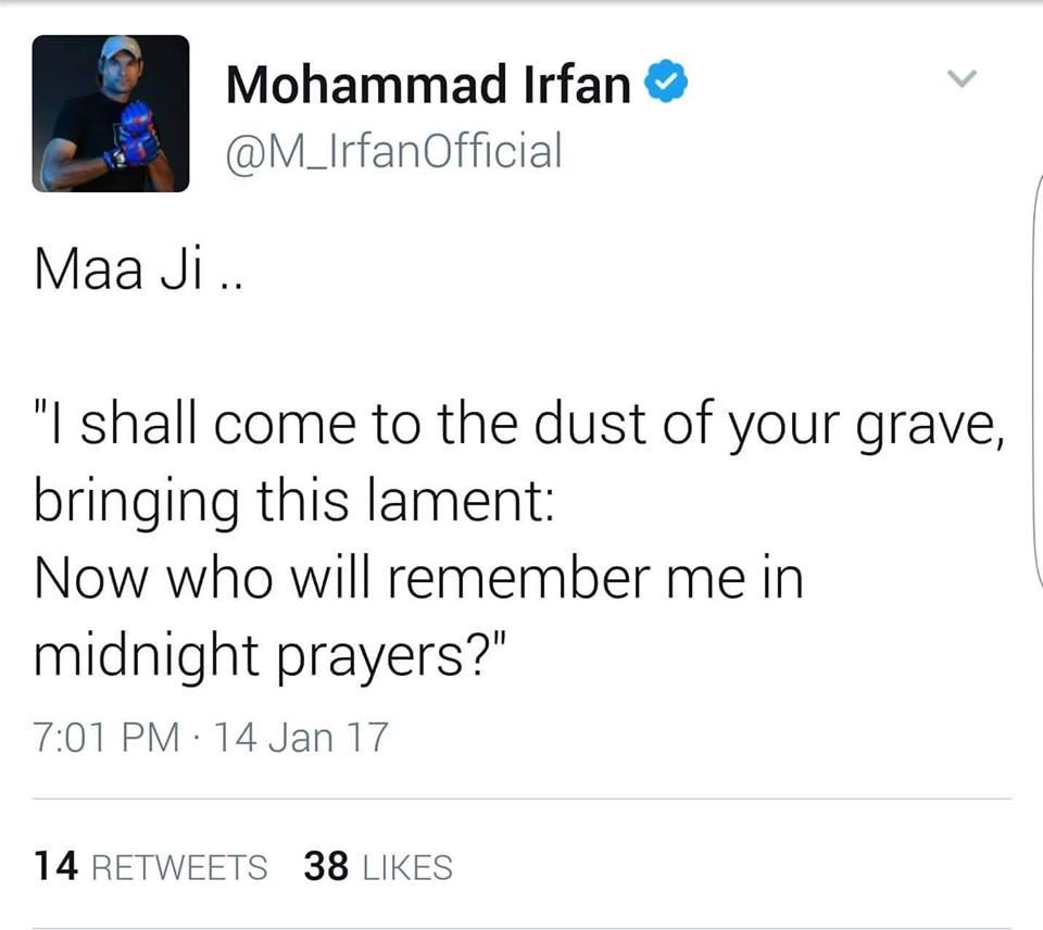 Mohammad Irfan Tweet